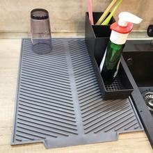 Силиконовый квадратный коврик для сушки посуды премиум-класса, термостойкая посуда для посуды, прочная Подушка, коврик для посуды, Настольный коврик