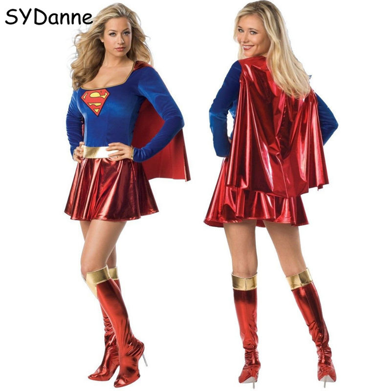 Adult Superwoman Dress Cosplay Costumes Super Girls Dress Shoe Covers Suit Superhero Wonder Woman Super Hero For Kids Halloween