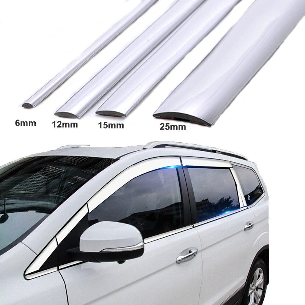 15 m prata janela do carro chrome decoração moldagem guarnição tira fita universal pvc anti-colisão tira do corpo do carro diy guarnição adesivo