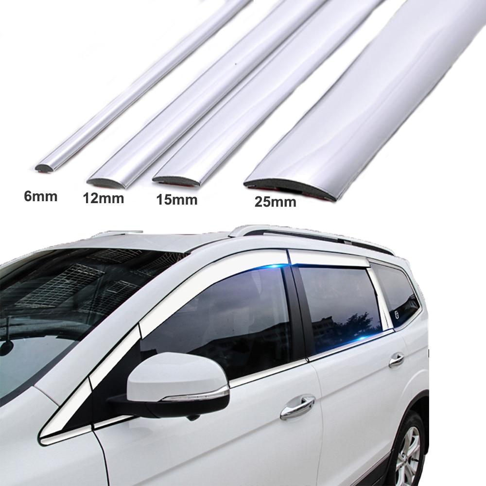 15M Ventana de coche de plata decoración de cromo moldura cinta de moldura PVC Universal anti-colisión tira DIY etiqueta engomada del ajuste del cuerpo del coche