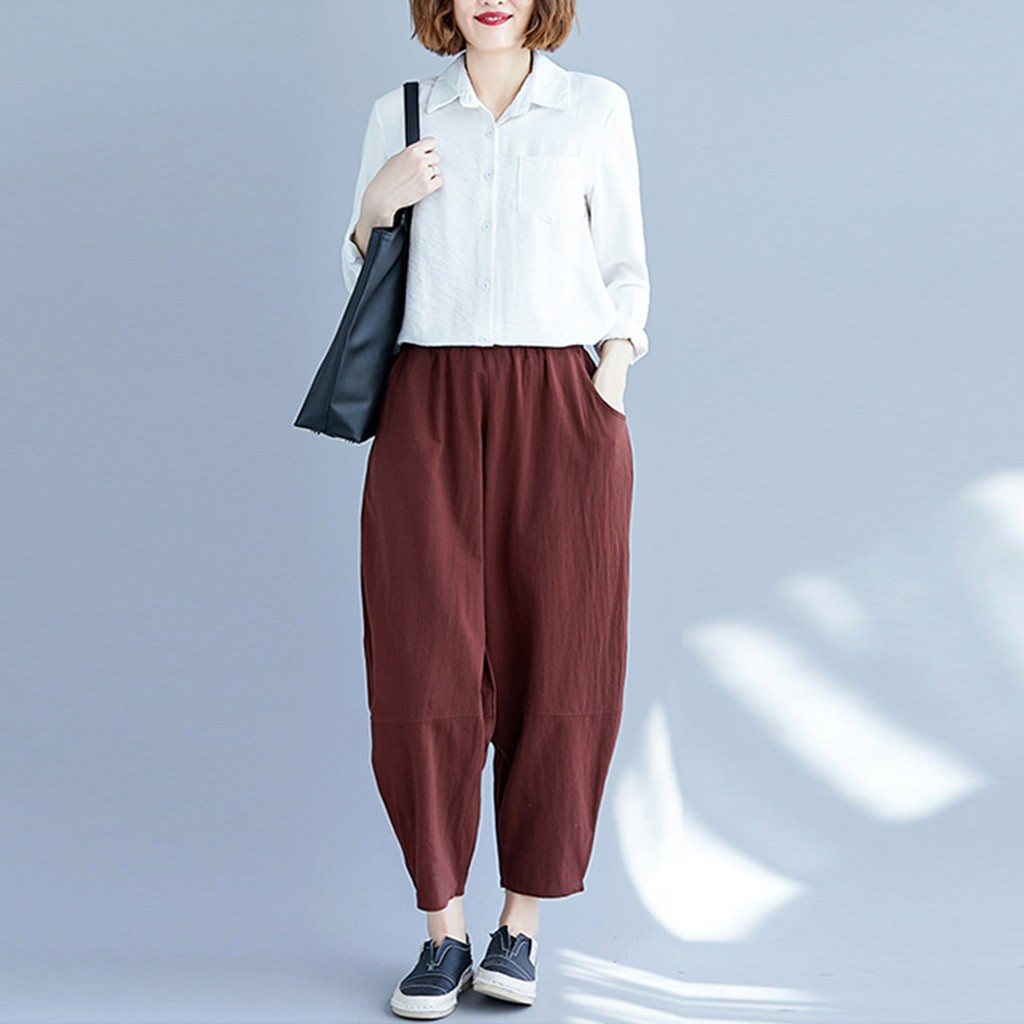 Casual High Waist Baggy Pants Women Solid Elastic Waist Trousers Women Winter Autumn Pockets Spodnie Damskie Baggy#G30