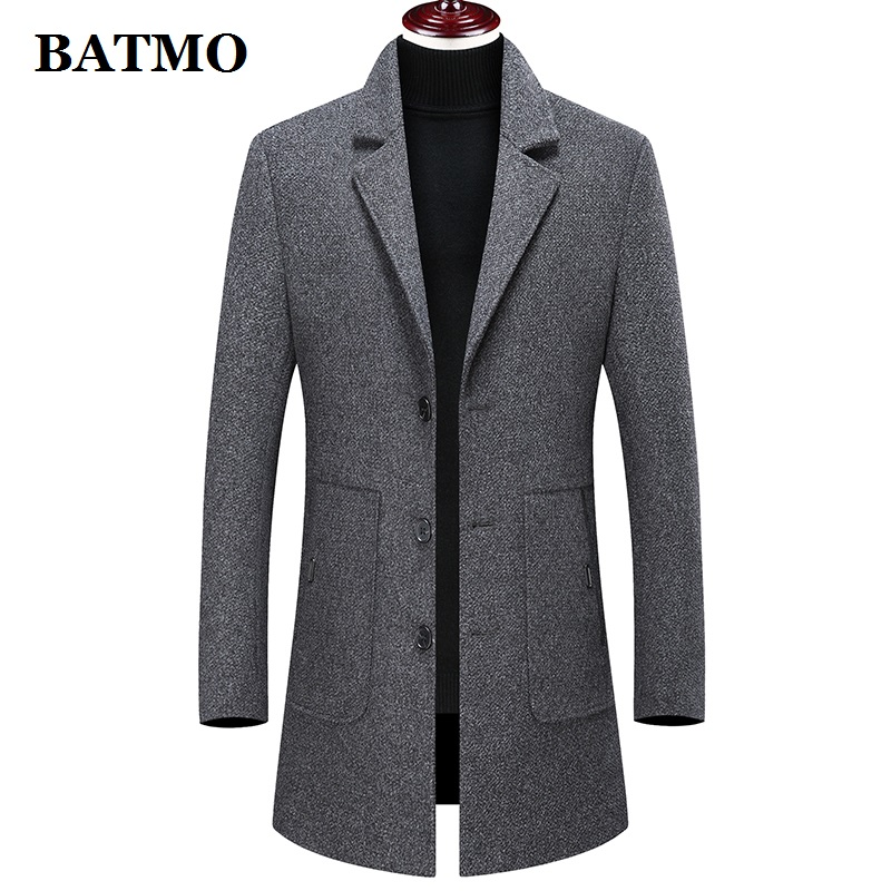 Batmo 2019 new arrival winter high quality wool thicked casual trench coat men,men's winter warm coat,winter jackets men 896