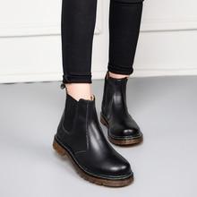2020 Winter Chelsea Women Martins Boots Men Fur Platform Genuine Leather Ankle Black Boots High Top Waterproof  Boot Shoes