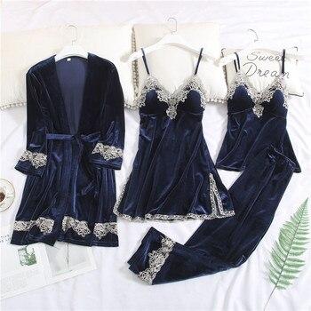 New Fashion Women Velvet Pajamas Set Ladies Pleuche Warm Sexy Lace Pajamas Winter Sleepwear Sling Nightdress Homewear 4pcs Sets