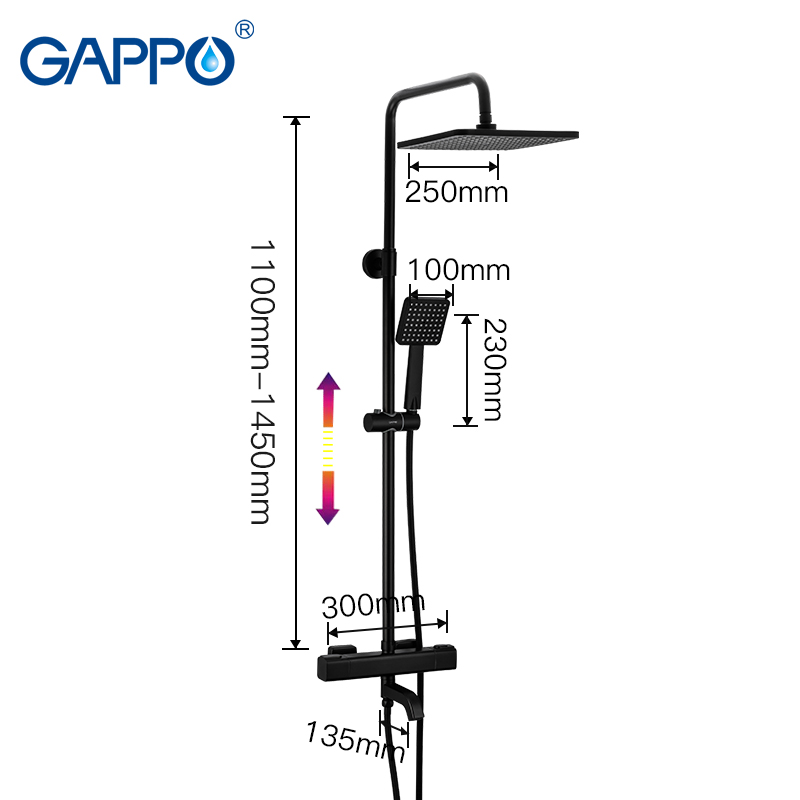 Image 2 - GAPPO thermostatic shower system hot cold mixer bathroom shower Brass faucet Bathtub shower set thermostatic mixer black faucetShower Faucets   -