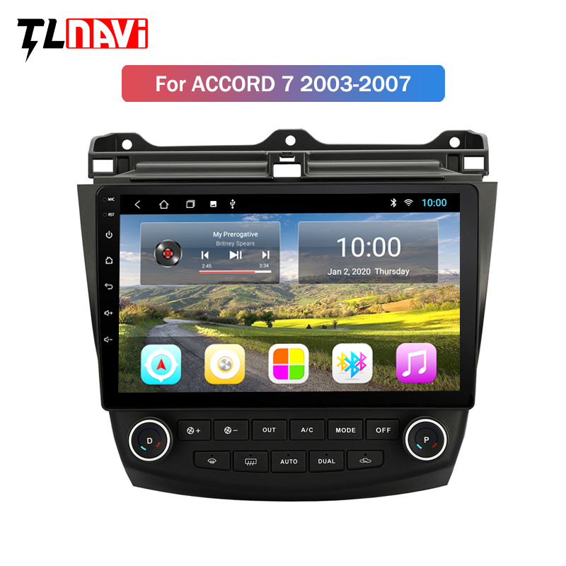 2G RAM 10 inch Android 9.0 Car GPS Navigation Radio <font><b>Stereo</b></font> Player For <font><b>2003</b></font> 2004 2005 2006 2007 <font><b>Honda</b></font> <font><b>Accord</b></font> 7 Head unit image