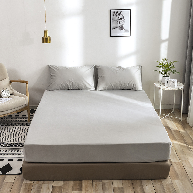 Anti-slip Bed Sheet Polyester Stretch Bed Fitted Sheet Solid Color Anti-dirty Bed Sheet Bedspread Home Texties Full King Queen