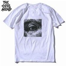 COOLMIND 100% cotton loose summer cool print men T shirt cas