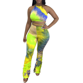 Women 2 Piece Tie Dye Outfits Sets, Halter Open Back Cami Top + Ruched Long Flared Pant Clubwear Party Costume tropical print open back halter top
