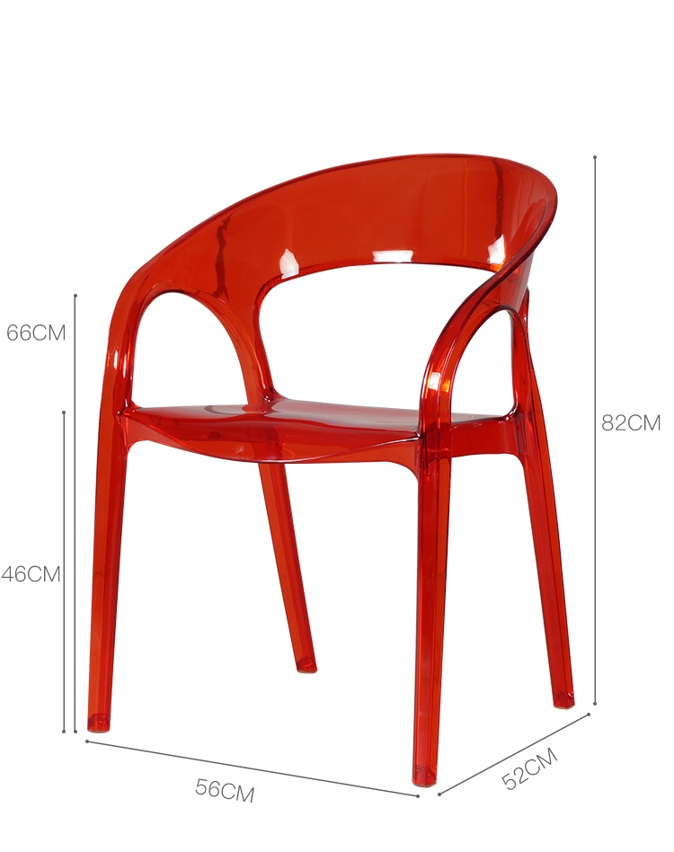 100pcs PACK Candy Crystal Chair / Stackable Easy-to-Store Events Chair with Armrest / All Plastic Made