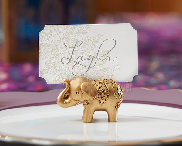 Hot Sell 200pcs Golden Elephant Place Card Holder Holders Name Number Table Place Wedding Favor Gift Unique Party Favors image
