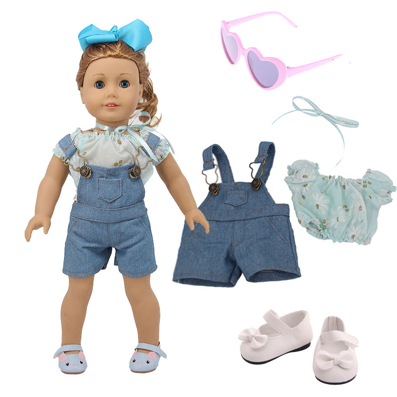 Doll Denim Clothes Set=T-Shirt + Pants / Skirt Fit 18 Inch American&43Cm Born Baby Our Generation Christmas Birthday Girl's Gift