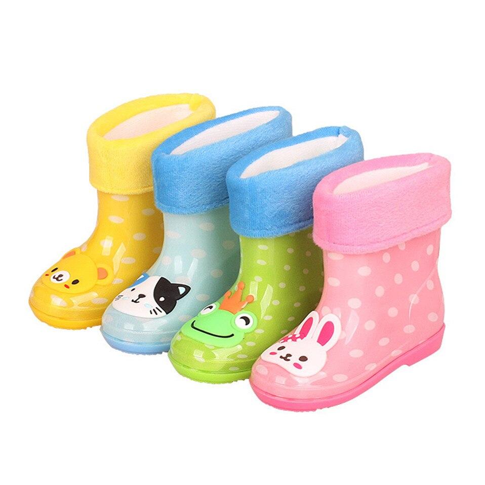 Rain Boots Kids Girl Cute Rabbit Cat Printed Children's Rubber Boots Kalosze Dla Dzieci Waterproof Baby Water Shoes
