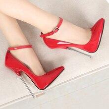 16 cm Heels Extreme Ladies Shoes Pumps PU Leather Big Size 46 Model Show Work Stilleto Shoe 2020 New Elegant Women Shoes Fashion