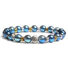 Metallic Luster Natural Stone Bracelet Men Women Bracelets Mala Yoga Beaded For Man Best Friend Gift Jewelry
