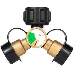 TOP! Propane Dispenser  2 Way Propane Tank Y Distributor Adapter with Gauge  Gas Adapter Propane Cylinder  Grill Gas Stove  Camp w Złącza od Lampy i oświetlenie na