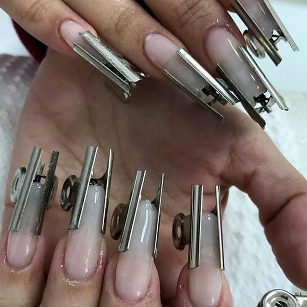 6Pcs/set Russian C Curve Nail Extension Pinching Tool Stainless Steel Acrylic Nail Pincher Clips Fiber Glass For Nails Easy