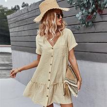 Printemps Nouveau Solide Robe Courte Femmes 2021 Décontracté Col en V Simple Boutonnage Robe D'été Dames Ample Trapèze Robes