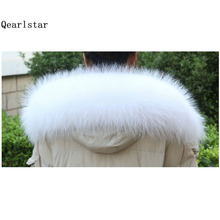 100% Real Raccoon Fur White Fur Collar for Hood Women Men Coat Sweater Scarves 70cm Natural Raccoon Fur Fashion Scarf Z196