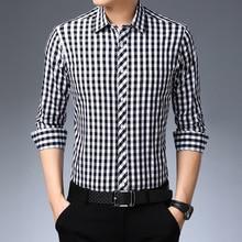 Shirt Men Plaid Long Sleeve Shirts Fashion Long Sleeve Turn-down Collar Casual Plaid Tops Japanese Streetwear 2020