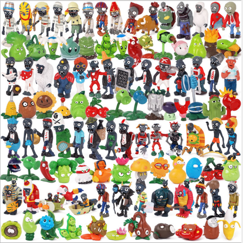 14 Styles of Plants vs zombies toy action figures cartoon solid PVC hand handles peripheral dolls cars display anti-drop gifts