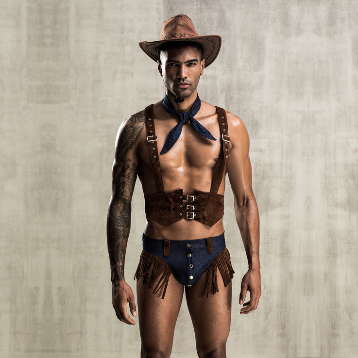 New 4pcs Adult Men Western Cowboy Cosplay Costumes Men's Sexy Erotic Halloween Party Set Fancy Clothing Gay Sexy Shop Clubwear