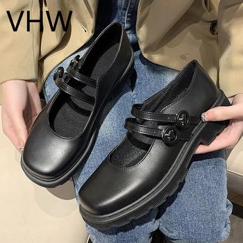 Damskie oxfordy 2021 wiosna lato moda brytyjski styl czarne skórzane klamerka do butów pasek College platformy przypadkowi mieszkania tanie i dobre opinie Oksfordy CN (pochodzenie) okrągły nosek RUBBER Wsuwane Dobrze pasuje do rozmiaru wybierz swój normalny rozmiar Na co dzień