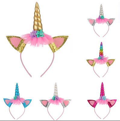 Fashion Headband Cute Kids Women Sweet Flower Unicorn Horn Hair Band Birthday Party Flower Floral Crown Headwear