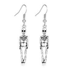 Skull-Earrings Jewelry Charms Silver-Pendant Skeleton Alloy Body-Halloween Women Punk