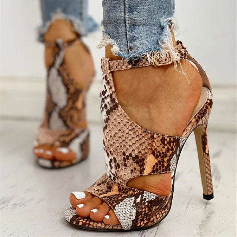 Summer Women Sandals Serpentine High Heels Ladies Sexy Party Pumps Ladies Open Toe Ankle Strap Shoes Big Size Wedding Shoes