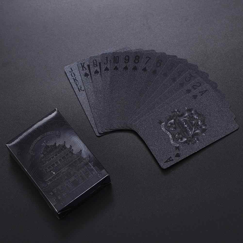 54 pièces Deck Poker imperméable à l'eau en plastique feuille noir Poker cartes ensembles classiques tours de magie outil Collection jeu de société cartes à jouer