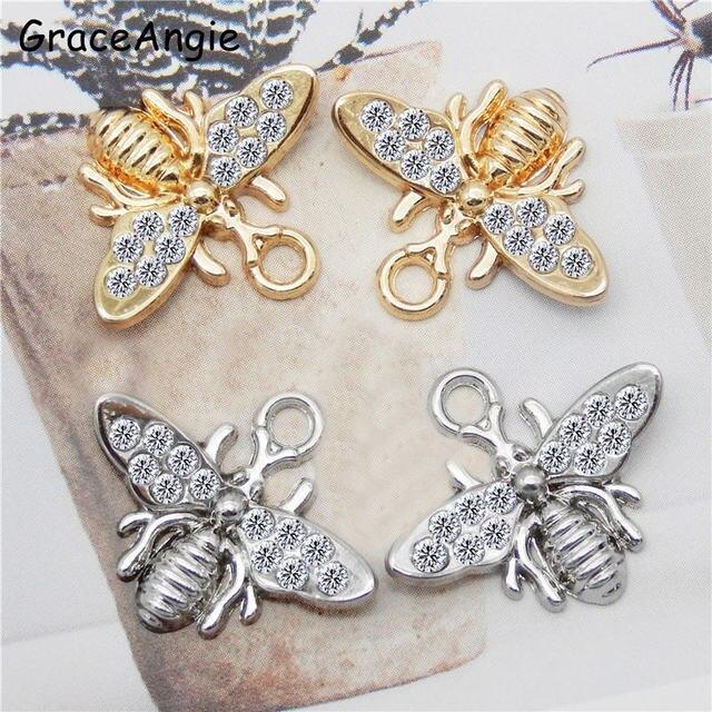 10 Uds. De dijes de animales para pendientes, collares, colgantes, joyería de abejas, hallazgos hechos a mano, artesanía DIY, brazalete, pulsera de oro 20*17mm