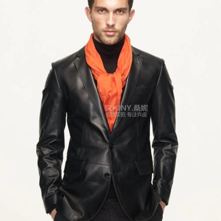 Free Shipping.asian Size New Brand Classic And Tender Sheepskin Leather Suit Man,100% Sheepskin Quality Genuine Leather Jacket
