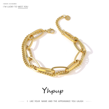 Yhpup Fashion Link Chain Stainless Steel Bangle Bracelet for Women Exquisite Gold Metal Bracelet Jewelry Girl Beach Gift брелок