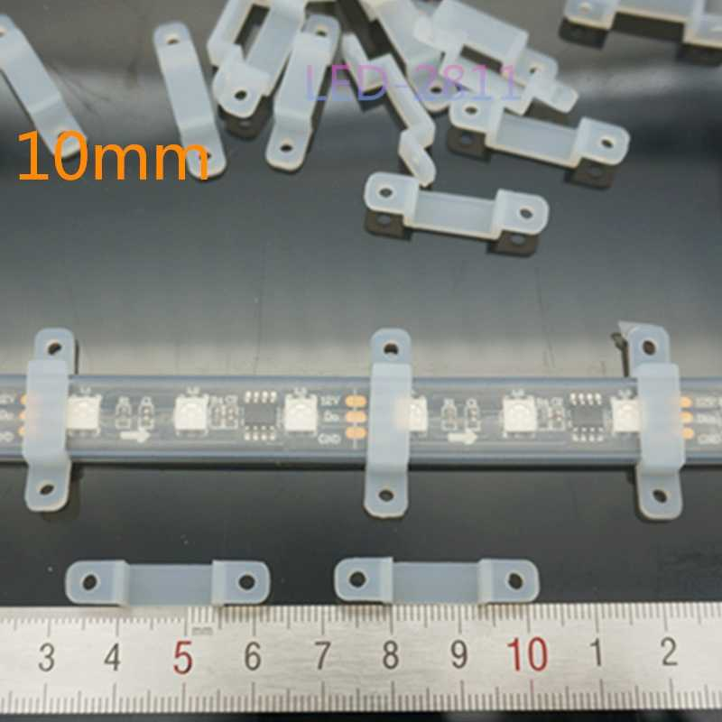 50/100/200 Uds 8mm/10mm/12mm Clip LED de silicona conector led para fijar la tira de LED RGB SMD 5050 WS2812B WS2811 a todo Color