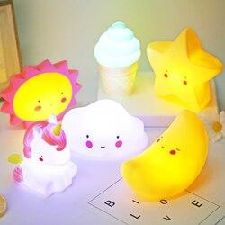 2019 Cute Smiley Clouds Stars Moon Appease Glow Night Light karmienie światło zabawka do snu dla dzieci prezenty świąteczne dla dzieci na nowy rok w Oświetlenie nocne LED od Lampy i oświetlenie na