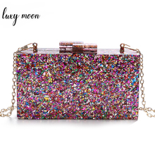 Colorful Sequin Luxury Evening Clutch Bags Wedding Clutch Purse and Handbags Bags for Women 2019 Acrylic Bag bolso mujer ZD1326
