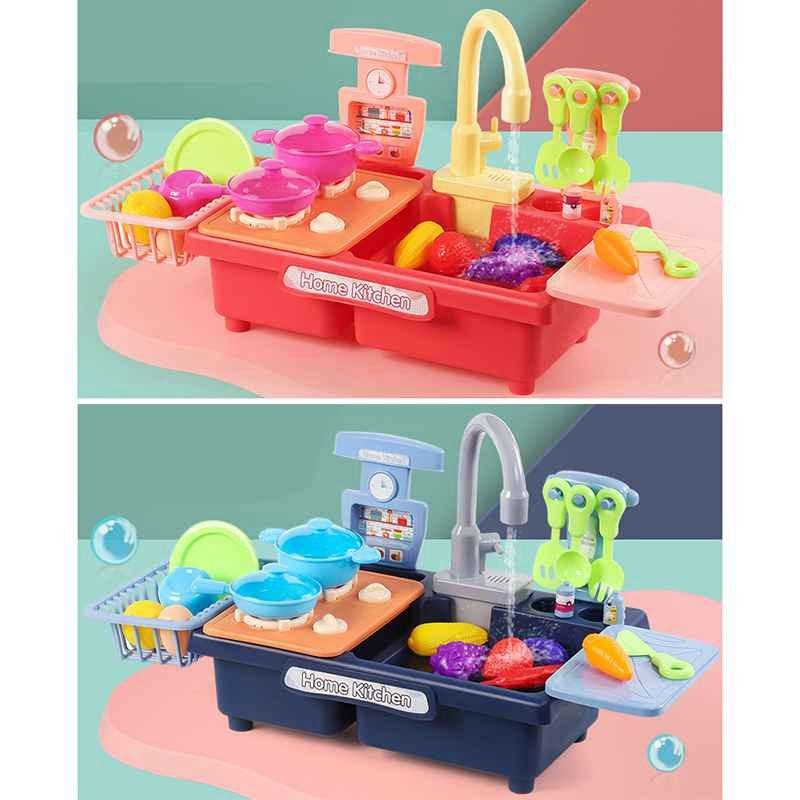 Kitchen Sink Toys Pretend Play Wash Up Kitchen Toys Dishwasher Toys Kitchenware Press Water Faucet & Drain