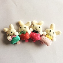 1Pcs/lot Handmade Soft Dot Cloth Rabbit Hair Accessories Plaid Clip Hairpin Bows Headbands For Girls Childrens