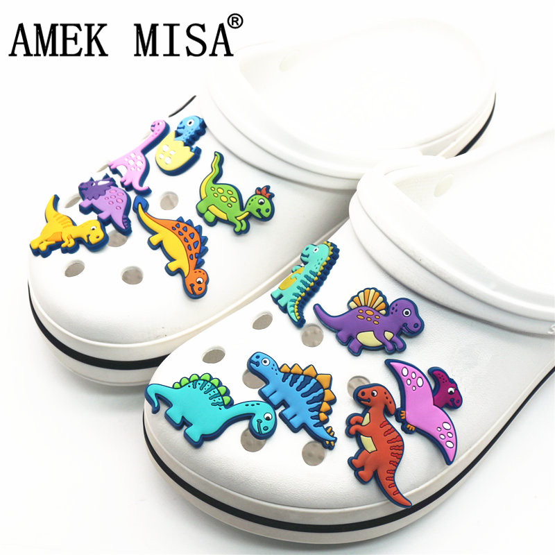 Single Sale 1Pcs Shoe Charms Novelty Cute Dinosaurs Shoe Accessories Shoe Buckle Decoration For Croc Jibz Kid's Party X-mas Gift