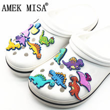 Single Sale 1Pcs Shoe Charms Novelty Cute Dinosaurs Shoe Accessories Shoe Buckle Decoration for croc jibz Kid's Party X-mas Gift(China)