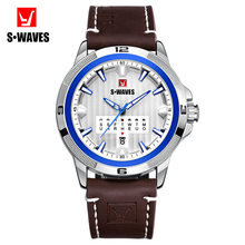 SWAVES Luxury Watches Mens 2019 Sport Unique Waterproof Watch Men Silver Blue Military Leather Belt Fashion Relogio Masculino(China)