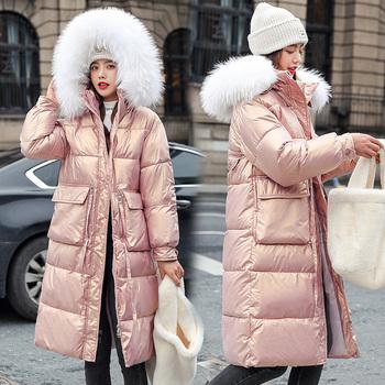 -20 stopni zima kobiety długie kurtki parki Casual Slim błyszcząca tkanina gruby kaptur ciepłe parki płaszcz 2021 znosić kurtki parki tanie i dobre opinie SNOW PINNACLE Wypełnienie łączone natryskowo CN (pochodzenie) long Na co dzień Dla osób w wieku 18-35 lat zipper Pełne