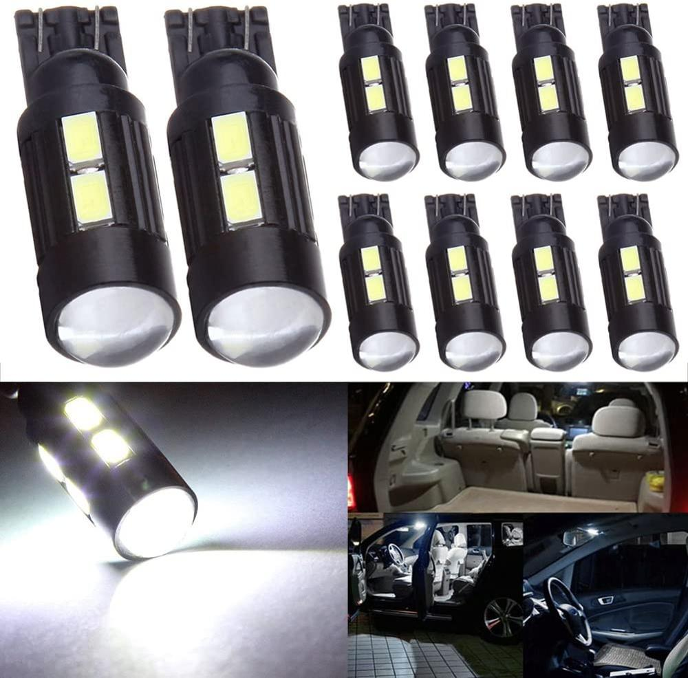 10pcs/Lot Car Auto 10SMD T10 Car Wedge Bulb Light LED 5630 5730 Bulbs Light Parking Width Lamps For All Cars 12V