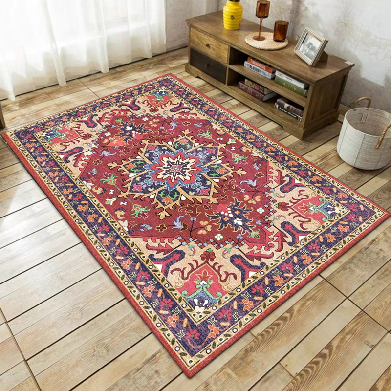 Retro Bohemian Style Area Rugs Persian Ethnic Floral Printed Non-Slip Tapete Living Room Bedroom Bedside Kitchen Decor Carpets