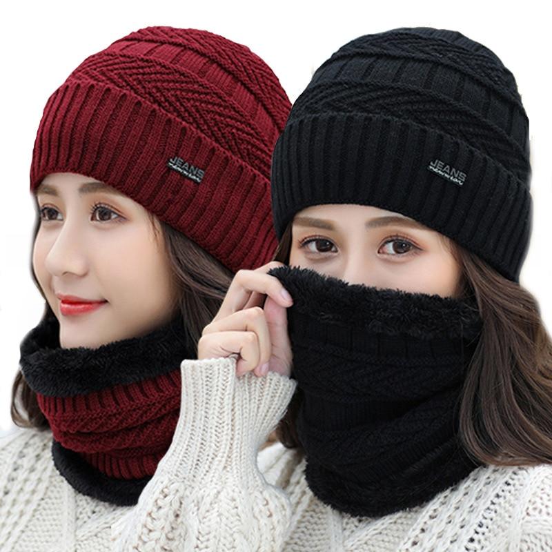 Winter Women's Hat Scarf Cold Warm Winter Hat For Women Men Knitted Hat Bonnet Warm Cap  Men's  Skullies Beanies 2019