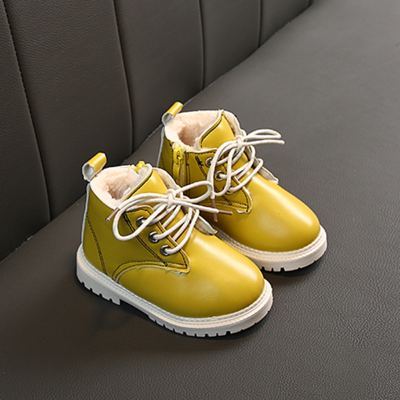 Children Winter Martin Boots Girls Boys Plush Casual Warm Ankle Shoes Kids Fashion Sneakers Baby Snow Boots 3Colors