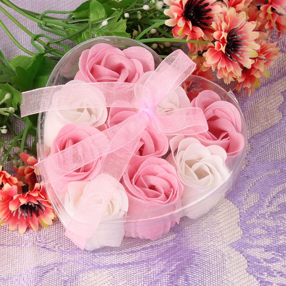 Rose Soap 9Pcs Scented Rose Flower Petal Bath Body Soap Wedding Party Gift Best Decoration Case Festival Box #40(China)