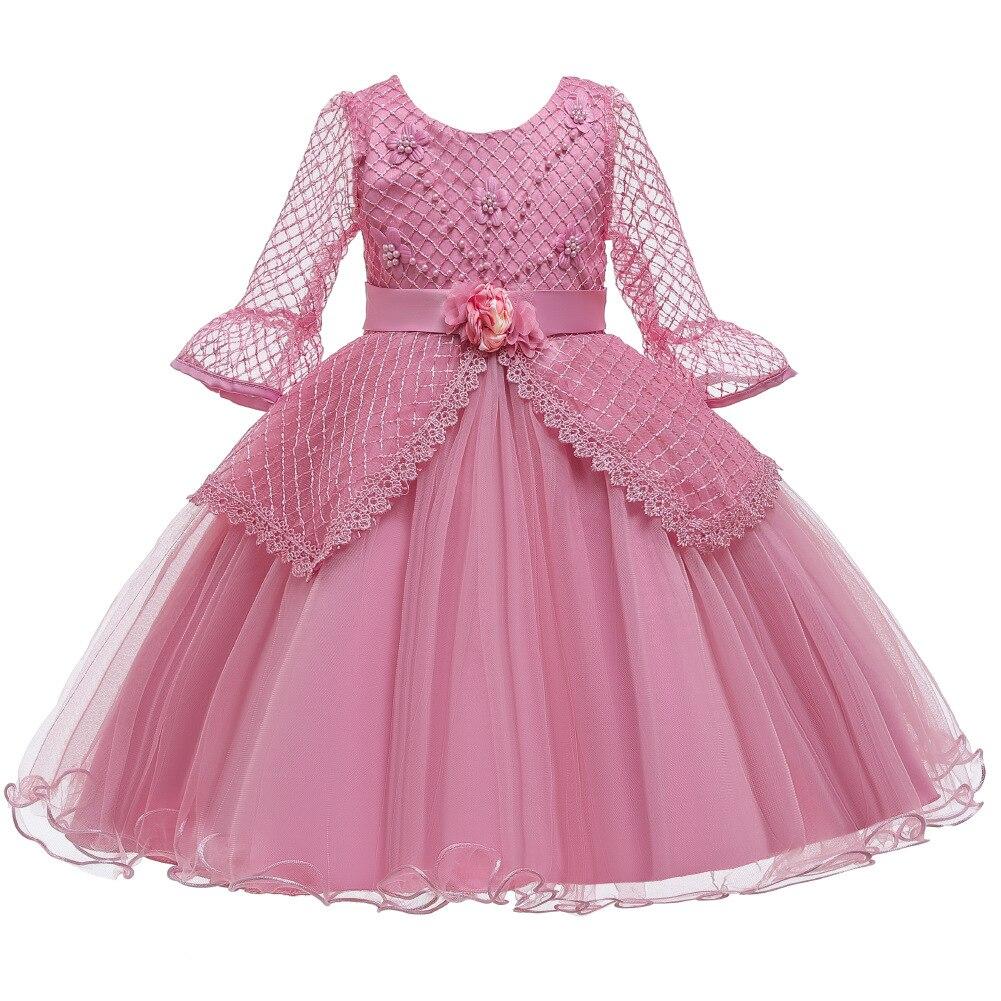 Детское кружевное платье с длинным рукавом, на Возраст 3-12 лет