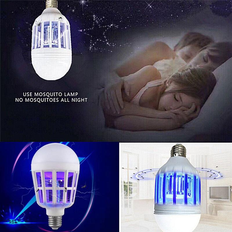LED Mosquito Killer Light Bulb 2 In 1 Bug Zapper LED Bulb E27 15W Practical Pest Control Light Bulbs For Zaps & Kills Insects